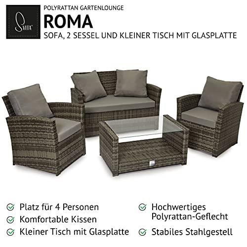 SVITA Roma Polyrattan Lounge Rattan Garten Möbel Set mit Sofa und Sessel Gartenlounge Essgruppe mit Tisch Braun - 3
