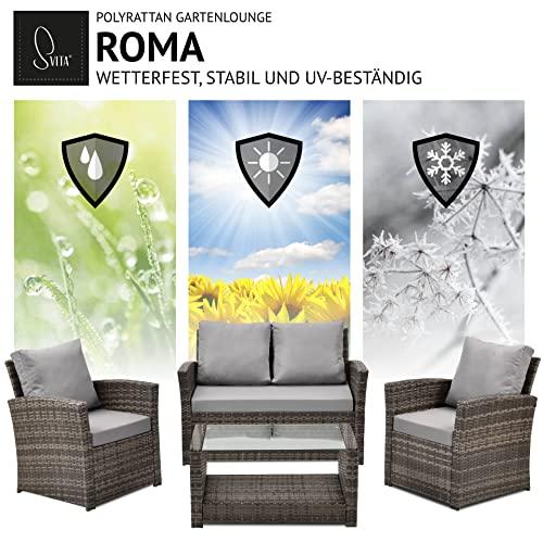 SVITA Roma Polyrattan Lounge Rattan Garten Möbel Set mit Sofa und Sessel Gartenlounge Essgruppe mit Tisch Braun - 4