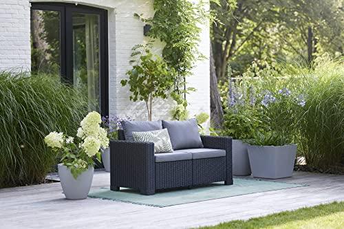 """Allibert by Keter"" Gartenlounge Sofa California 2-Sitzer, graphit/panama cool grey, inkl. Sitz- und Rückenkissen, Kunststoff, runde Rattanoptik - 2"