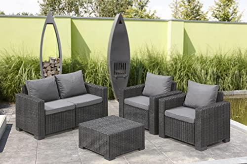 """Allibert by Keter"" Gartenlounge Sofa California 2-Sitzer, graphit/panama cool grey, inkl. Sitz- und Rückenkissen, Kunststoff, runde Rattanoptik - 4"