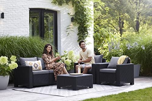 """Allibert by Keter"" Gartenlounge Sofa California 2-Sitzer, graphit/panama cool grey, inkl. Sitz- und Rückenkissen, Kunststoff, runde Rattanoptik - 5"