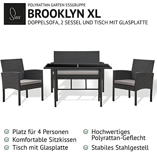 SVITA Brooklyn XL Rattan Garten Möbel Set Essgruppe mit Tisch, 2X Sessel, 2er Sofa Polyrattan Schwarz - 3