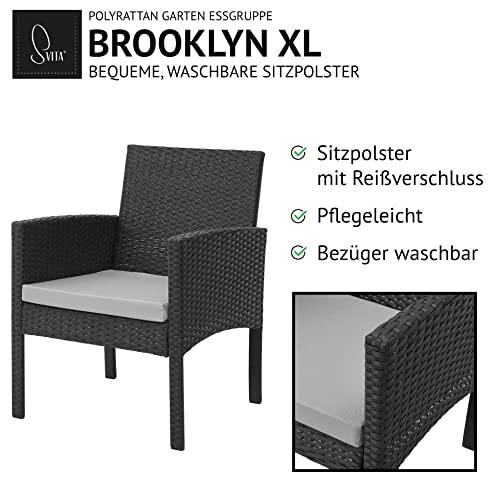 SVITA Brooklyn XL Rattan Garten Möbel Set Essgruppe mit Tisch, 2X Sessel, 2er Sofa Polyrattan Schwarz - 5