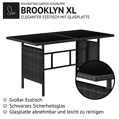 SVITA Brooklyn XL Rattan Garten Möbel Set Essgruppe mit Tisch, 2X Sessel, 2er Sofa Polyrattan Schwarz - 6