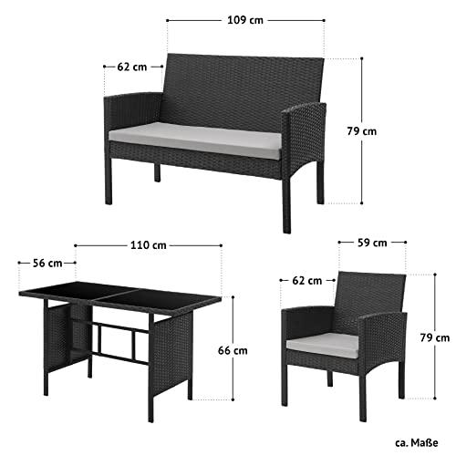 SVITA Brooklyn XL Rattan Garten Möbel Set Essgruppe mit Tisch, 2X Sessel, 2er Sofa Polyrattan Schwarz - 7