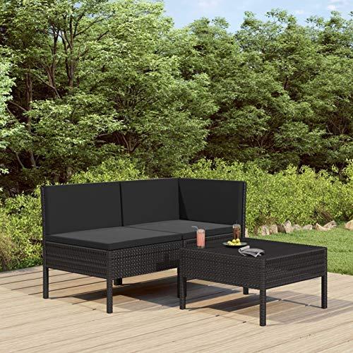 pedkit 3-TLG. Polyrattan Lounge Sitzgruppe Garten Lounge Set mit Auflagen Gartenlounge Gartenmöbel Set für Garten & Terrasse Gartensofagarnitur Poly Rattan Schwarz - 2