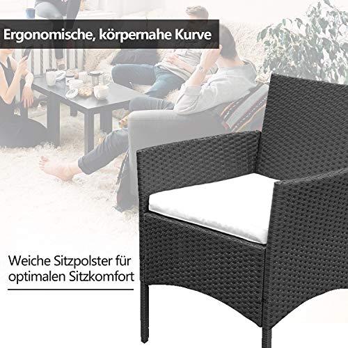 VINGO Balkon Möbel Set Poly Rattan Gartenmöbel inkl. 2er Sofa, Singlestühle, Tisch und Sitzkissen Hochwertige Sitzgruppe Schwarz für Garten Terrasse - 3