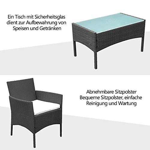 VINGO Balkon Möbel Set Poly Rattan Gartenmöbel inkl. 2er Sofa, Singlestühle, Tisch und Sitzkissen Hochwertige Sitzgruppe Schwarz für Garten Terrasse - 7