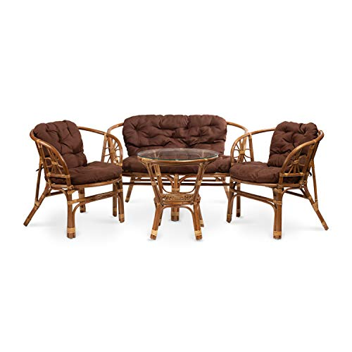 Rattan Gartenmöbel Set - Balkon Möbel - Lounge Möbel Terrasse - Ragnarök Gartenmöbel - Tisch Set - Balkonmöbel Set mit Couch (Hellbraun - Schokolade)
