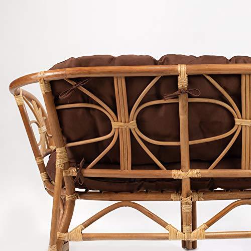 Rattan Gartenmöbel Set – Balkon Möbel – Lounge Möbel Terrasse – Ragnarök Gartenmöbel – Tisch Set – Balkonmöbel Set mit Couch (Hellbraun – Schokolade) - 7