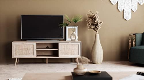 Newfurn TV Lowboard Sonoma Eiche Rattan Optik TV Schrank Modern Skandinavisch – 150x52x40 cm (BxHxT) – Fernsehtisch TV Board Rack Boho – [Mila.Eight] Wohnzimmer - 2
