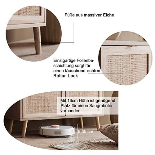 Newfurn TV Lowboard Sonoma Eiche Rattan Optik TV Schrank Modern Skandinavisch – 150x52x40 cm (BxHxT) – Fernsehtisch TV Board Rack Boho – [Mila.Eight] Wohnzimmer - 6