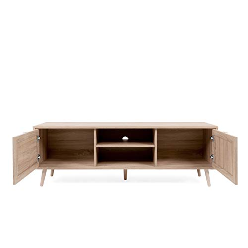 Newfurn TV Lowboard Sonoma Eiche Rattan Optik TV Schrank Modern Skandinavisch – 150x52x40 cm (BxHxT) – Fernsehtisch TV Board Rack Boho – [Mila.Eight] Wohnzimmer - 7