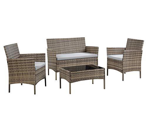 Salbay Rattan-Gartenmöbel-Set für Terrasse, Wintergarten, drinnen und draußen, 4-teiliges Set mit Tisch und Stuhl und Sofa