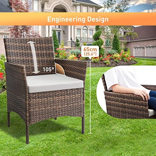 Salbay Rattan-Gartenmöbel-Set für Terrasse, Wintergarten, drinnen und draußen, 4-teiliges Set mit Tisch und Stuhl und Sofa - 5