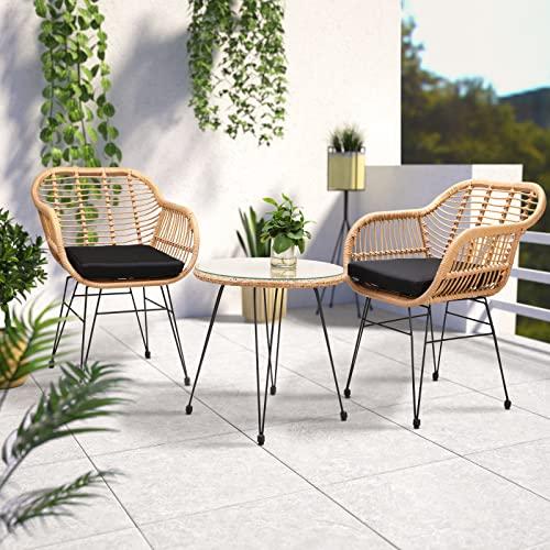 Casaria 3 TLG. Balkonset Beistelltisch 2 Lounge Sessel Indoor Outdoor Wetterfest Natur Poly Rattan-Look Sitzgruppe Garten Balkon Set - 2