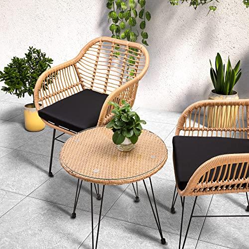 Casaria 3 TLG. Balkonset Beistelltisch 2 Lounge Sessel Indoor Outdoor Wetterfest Natur Poly Rattan-Look Sitzgruppe Garten Balkon Set - 3