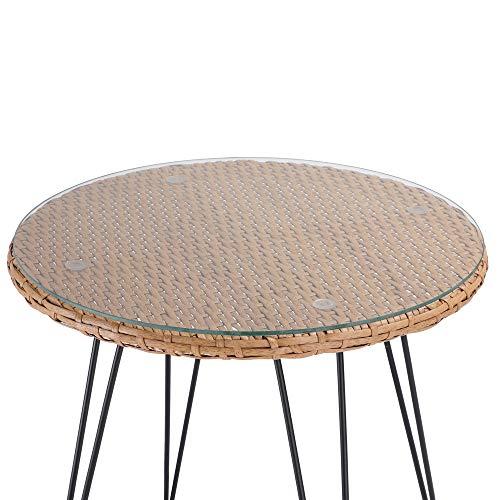 Casaria 3 TLG. Balkonset Beistelltisch 2 Lounge Sessel Indoor Outdoor Wetterfest Natur Poly Rattan-Look Sitzgruppe Garten Balkon Set - 8