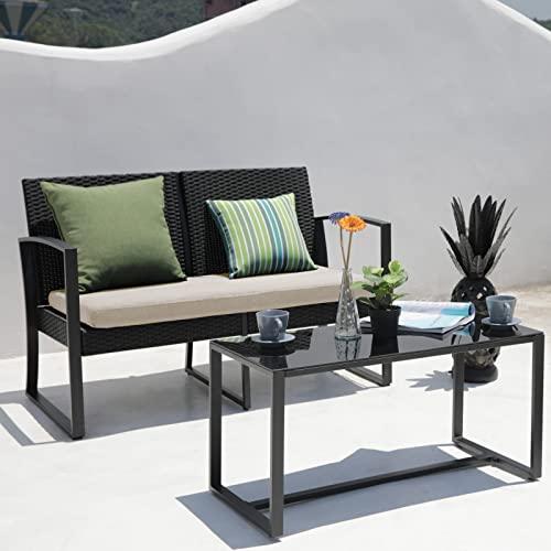 SVITA LOIS XL Poly Rattan Sitzgruppe Gartenmöbel Metall-Garnitur Bistro-Set Tisch Sessel schwarz - 6