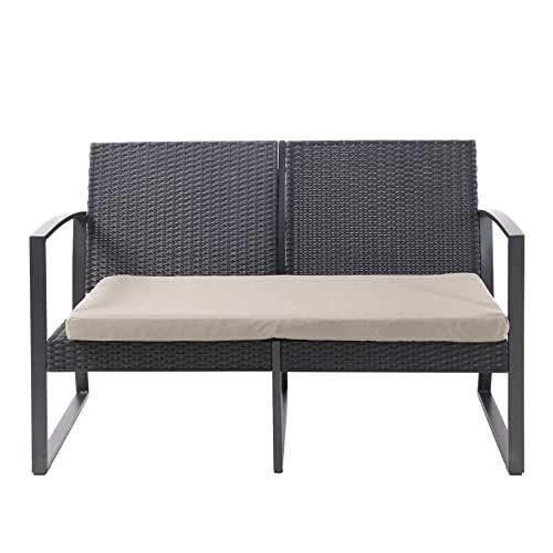 SVITA LOIS XL Poly Rattan Sitzgruppe Gartenmöbel Metall-Garnitur Bistro-Set Tisch Sessel schwarz - 8