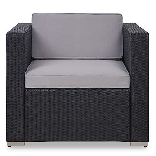 SVITA Sessel für Polyrattan Lounge Lugano/California Ergänzung Rattan (Schwarz) - 2
