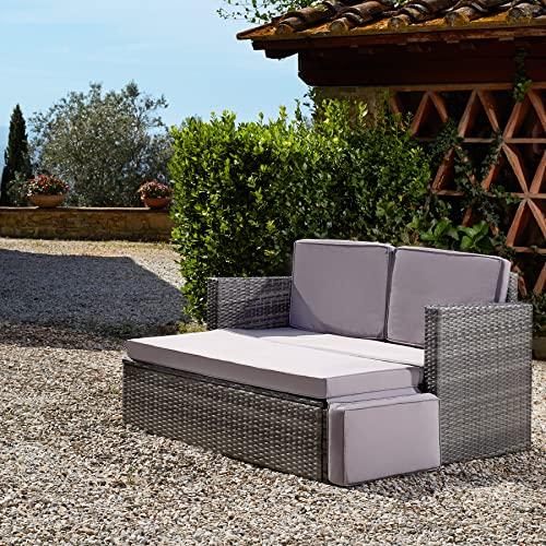 TecTake 800884 Poly Rattan Lounge Set, 2-Sitzer Sofa mit Rückenlehne, großer Hocker mit klappbarer Stütze, inkl. Dicke Auflagen, Gartenmöbel Set für Garten & Terrasse (Grau | Nr. 403884) - 2