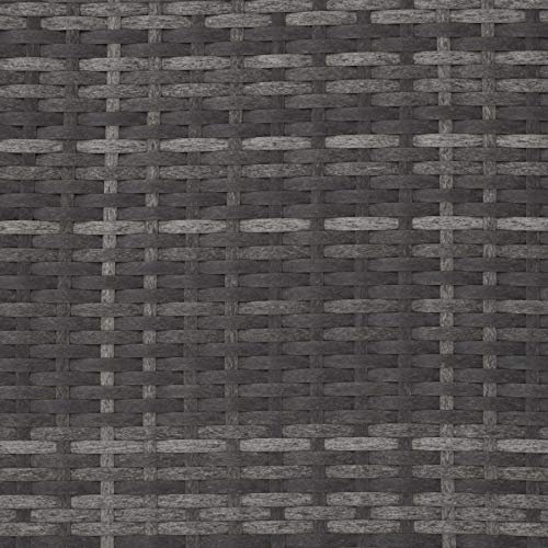 TecTake 800884 Poly Rattan Lounge Set, 2-Sitzer Sofa mit Rückenlehne, großer Hocker mit klappbarer Stütze, inkl. Dicke Auflagen, Gartenmöbel Set für Garten & Terrasse (Grau | Nr. 403884) - 8