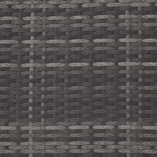 TecTake 800884 Poly Rattan Lounge Set, 2-Sitzer Sofa mit Rückenlehne, großer Hocker mit klappbarer Stütze, inkl. Dicke Auflagen, Gartenmöbel Set für Garten & Terrasse (Grau | Nr. 403884) - 9