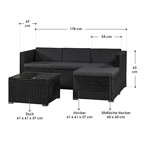 ArtLife Polyrattan Lounge Punta Cana M schwarz – Gartenlounge Set für 3-4 Personen – Gartenmöbel-Set mit Sofa, Tisch und Hocker – Sitzbezüge in Dunkelgrau - 2