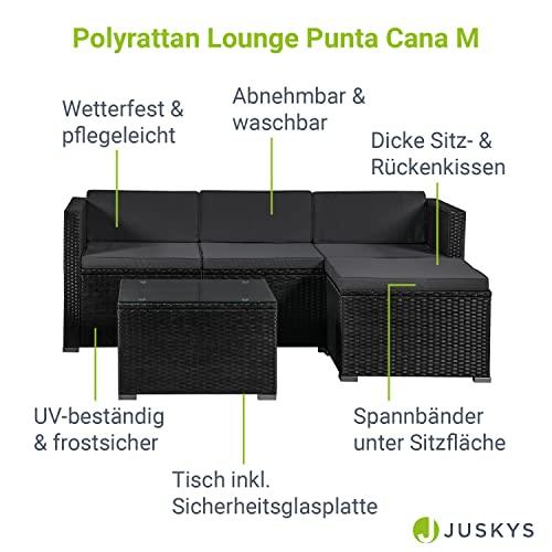 ArtLife Polyrattan Lounge Punta Cana M schwarz – Gartenlounge Set für 3-4 Personen – Gartenmöbel-Set mit Sofa, Tisch und Hocker – Sitzbezüge in Dunkelgrau - 3