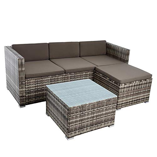 ESTEXO Rattan Lounge Sitzgruppe Polyrattan Gartenmöbel Set Couch 3-Sitzer Rattanmöbel Sofa Set Essgruppe Gartenset Balkon-Set (Beige-Braun)