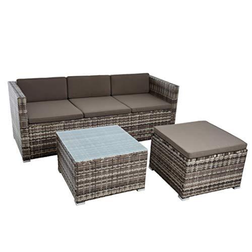 ESTEXO Rattan Lounge Sitzgruppe Polyrattan Gartenmöbel Set Couch 3-Sitzer Rattanmöbel Sofa Set Essgruppe Gartenset Balkon-Set (Beige-Braun) - 3