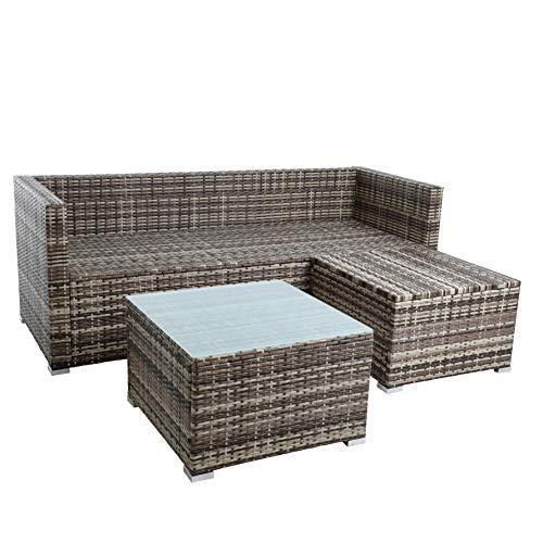 ESTEXO Rattan Lounge Sitzgruppe Polyrattan Gartenmöbel Set Couch 3-Sitzer Rattanmöbel Sofa Set Essgruppe Gartenset Balkon-Set (Beige-Braun) - 5