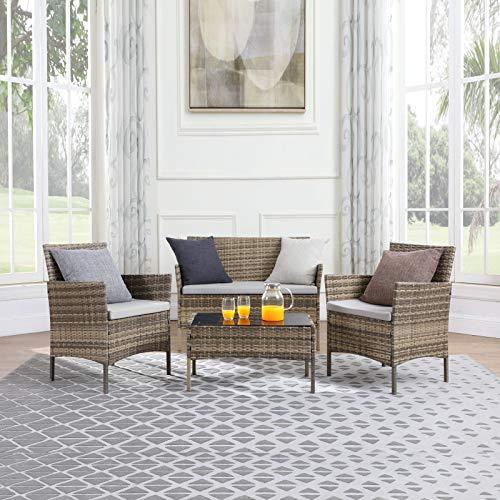 TMEE Rattan Gartenmöbel 4-teiliges Lounge-Set, Terrassenmöbel, Balkonmöbel, einschließlich 2 Sesseln, 1 Doppelsitzsofa und 1 Tisch in Schwarz, Mix Grey, Vintage Braun (Vintage Braun) - 2