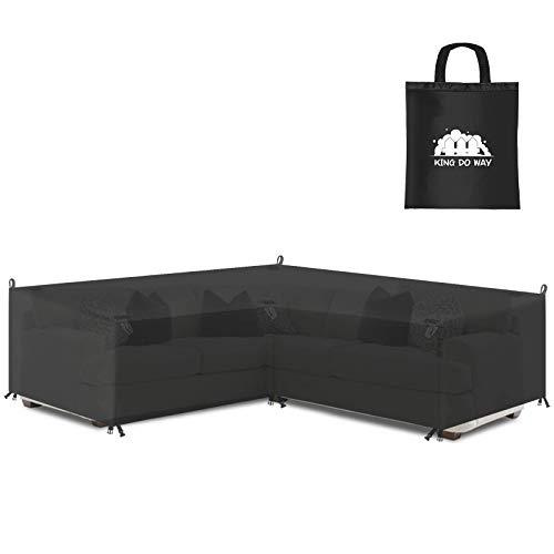 king do way Abdeckung für Gartenmöbel L-Form, 600D Oxford Tuch Premium Wasserdicht Sofa Abdeckung Rattan Möbel Schutz vor Staub und verlängert die Lebensdauer von Möbeln 270 x 270 x 90CM