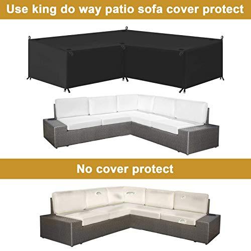 king do way Abdeckung für Gartenmöbel L-Form, 600D Oxford Tuch Premium Wasserdicht Sofa Abdeckung Rattan Möbel Schutz vor Staub und verlängert die Lebensdauer von Möbeln 270 x 270 x 90CM - 5