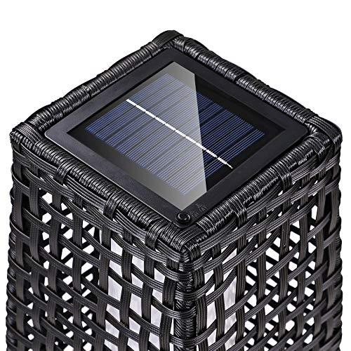 DEUBA Poly Rattan LED Solarleuchte Solarlampe schwarz | 70cm Hoch | Stehend | Für Garten, Balkon & Terrasse – Außenleuchte Gartenleuchte Gartenbeleuchtung Solar Gartenlampe Außen - 4