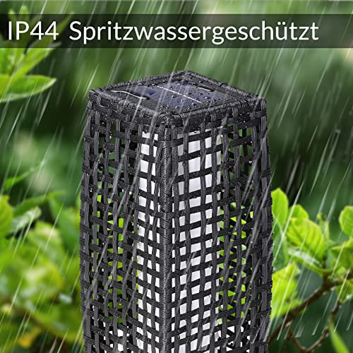 DEUBA Poly Rattan LED Solarleuchte Solarlampe schwarz | 70cm Hoch | Stehend | Für Garten, Balkon & Terrasse – Außenleuchte Gartenleuchte Gartenbeleuchtung Solar Gartenlampe Außen - 5