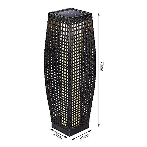 DEUBA Poly Rattan LED Solarleuchte Solarlampe schwarz | 70cm Hoch | Stehend | Für Garten, Balkon & Terrasse – Außenleuchte Gartenleuchte Gartenbeleuchtung Solar Gartenlampe Außen - 6