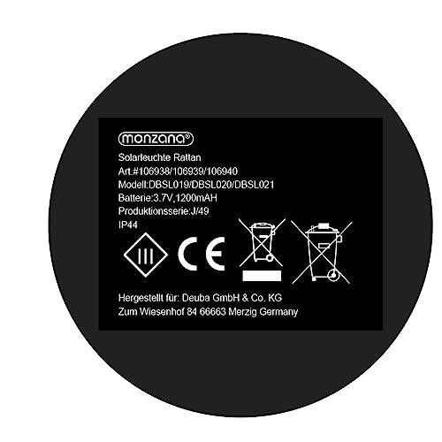 DEUBA Poly Rattan LED Solarleuchte Solarlampe schwarz | 70cm Hoch | Stehend | Für Garten, Balkon & Terrasse – Außenleuchte Gartenleuchte Gartenbeleuchtung Solar Gartenlampe Außen - 7