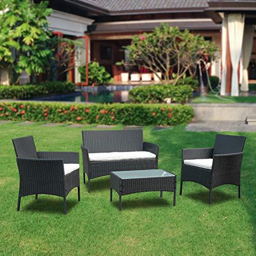 BMOT Gartenlounge Set, Balkonmöbel Set für 4 Personen, Schwarz, 7 TLG, mit Tisch, Sitzkissen waschbar, Kunststoff, Flache Rattanoptik, für Balkon oder Terrasse