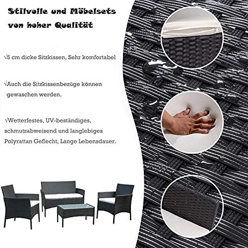 BMOT Gartenlounge Set, Balkonmöbel Set für 4 Personen, Schwarz, 7 TLG, mit Tisch, Sitzkissen waschbar, Kunststoff, Flache Rattanoptik, für Balkon oder Terrasse - 2