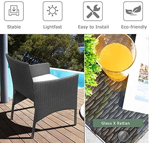 BMOT Gartenlounge Set, Balkonmöbel Set für 4 Personen, Schwarz, 7 TLG, mit Tisch, Sitzkissen waschbar, Kunststoff, Flache Rattanoptik, für Balkon oder Terrasse - 3