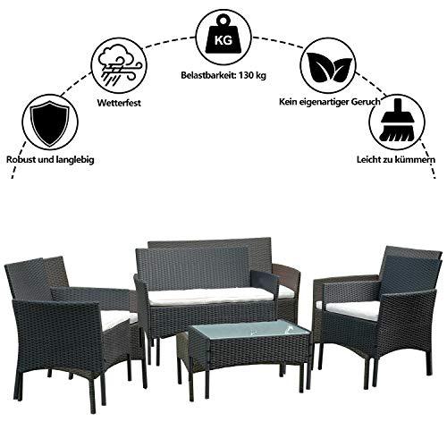 BMOT Gartenlounge Set, Balkonmöbel Set für 4 Personen, Schwarz, 7 TLG, mit Tisch, Sitzkissen waschbar, Kunststoff, Flache Rattanoptik, für Balkon oder Terrasse - 7