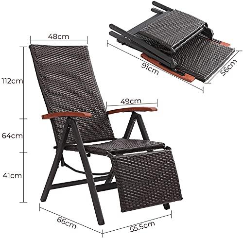 FIXKIT Klappbarer Gartenstuhl aus Rattan, 7-stufige verstellbare Liege, Outdoor-Klappstuhl mit Breiten Armlehnen, Aluminiumrahmen, geeignet für Garten, Terrasse, Strand (braun) - 2