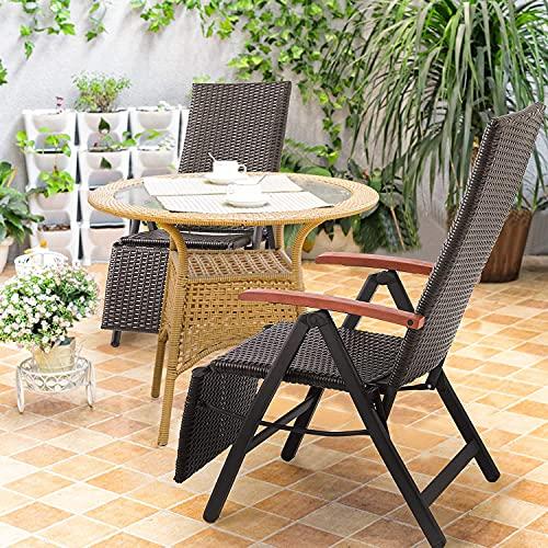FIXKIT Klappbarer Gartenstuhl aus Rattan, 7-stufige verstellbare Liege, Outdoor-Klappstuhl mit Breiten Armlehnen, Aluminiumrahmen, geeignet für Garten, Terrasse, Strand (braun) - 4