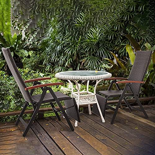 FIXKIT Klappbarer Gartenstuhl aus Rattan, 7-stufige verstellbare Liege, Outdoor-Klappstuhl mit Breiten Armlehnen, Aluminiumrahmen, geeignet für Garten, Terrasse, Strand (braun) - 6