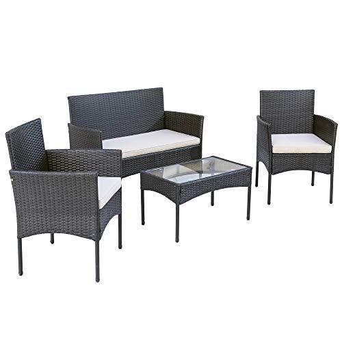 Merax Polyrattan Rattan Gartenmöbel Set Balkonmöbel Sitzgruppe Garten Lounge Set Outdoor Essgruppe Gartenlounge – Mit 2-er Sofa, Singlestühle, Tisch und Weiß Sitzkissen - 2