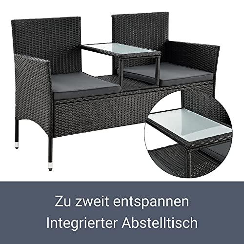 ArtLife Polyrattan Gartenbank Monaco schwarz – 2-Sitzer Bank mit integriertem Tisch & Kissen in Grau – 133 × 63 × 84 cm – Sitzbank wetterfest - 5