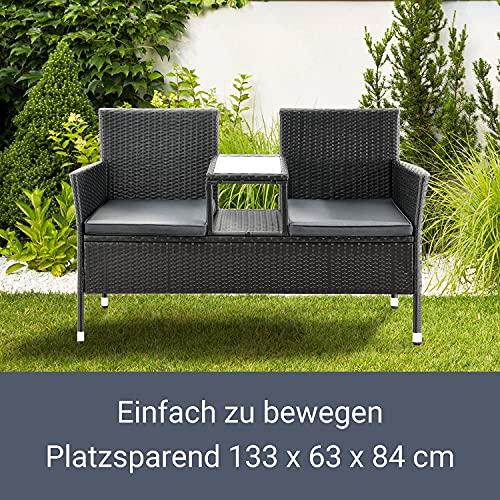 ArtLife Polyrattan Gartenbank Monaco schwarz – 2-Sitzer Bank mit integriertem Tisch & Kissen in Grau – 133 × 63 × 84 cm – Sitzbank wetterfest - 7